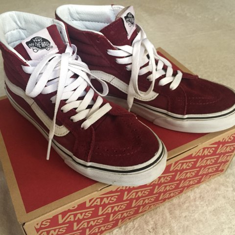 254ebb3365 Vans burgundy slim fit sk8 hi. Good condition. Women s - Depop