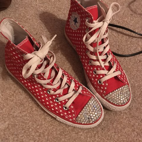 4d8832520f24 Red love heart customized and bedazzled converse ❤ Bought a - Depop