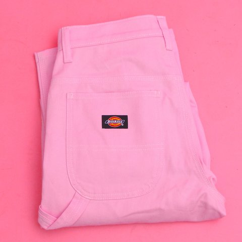 cfd69530b37 Rare baby pink dickies cargo pants 💕🌸 has a high rise and - Depop