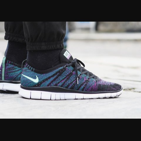 5884ebd3baff7 Nike Free Flyknit NSW Colour  Black   Green Glow - Radiant - - Depop