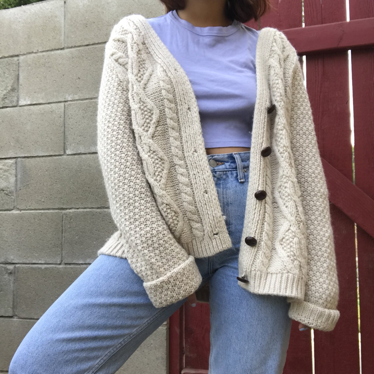 dd7cd5f10a beige cream knit cardigan from urban outfitters super cozy - Depop