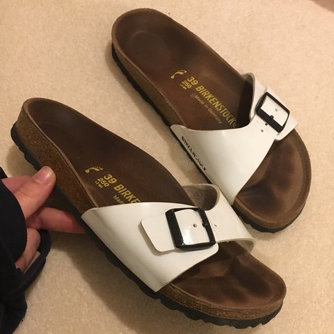 257fa8751f6d One-Strap White Birkenstock Sandals - Size 39 (UK 6) - worn - Depop