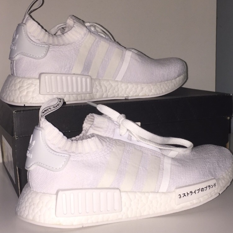 Adidas NMD R1 Primeknit Triple White Japan Pack in Depop