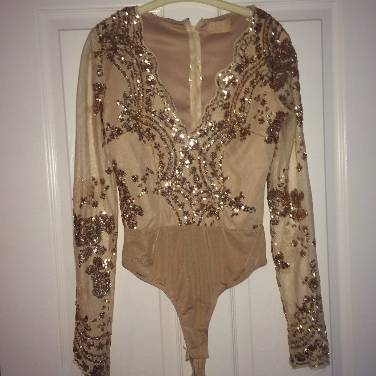 d1724bff1b4c4 Gorgeous gold nude embellished sequin bodysuit with plunge 8 - Depop