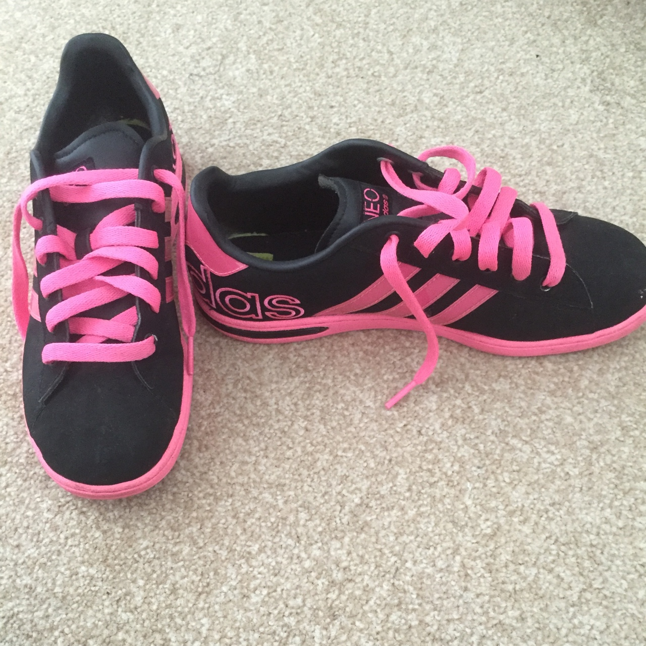 Adidas trainers. Black and neon pink. Very good...