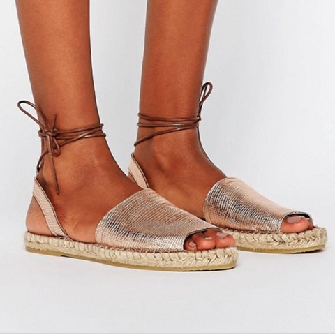460b70710da3 Pieces at Asos rose gold espadrille sandals Size 3 Tie ankle - Depop