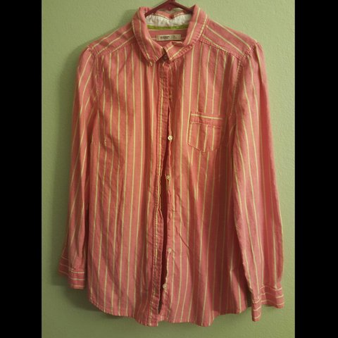 b2fedc4608 OLD NAVY womens long sleeve button up shirt. Pink and yellow - Depop