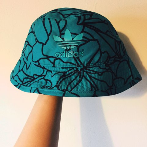 5124361b Teal adidas pharrell Williams bucket hat Only worn once for - Depop