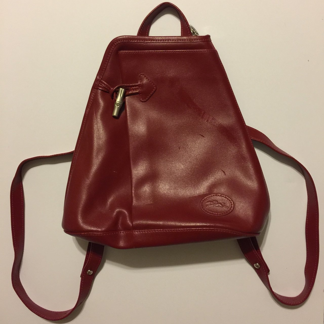 Brick Red Longchamp Genuine Leather Backpack  ca03f4e48de59