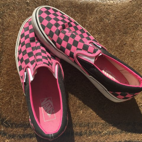96c12ac742c Genuine vans Pink and black checkered Worn a handful of on - Depop