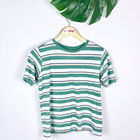 9ee0f5c0ea @freshvintagegb. last year. Glossop, United Kingdom. Super cute turquoise  yellow blue white striped Tshirt! From Urban Outfitters