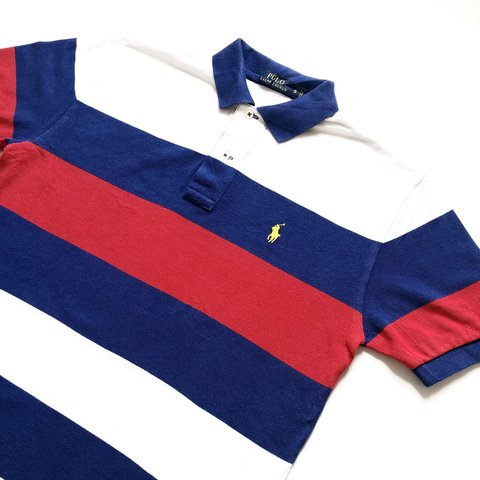 9883e8c81 Ralph Lauren Polo Shirt In red white and blue stripes With - Depop