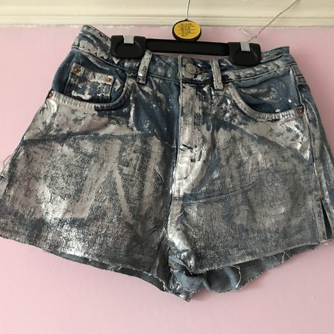 12d0da08857 TOPSHOP SILVER DENIM SHORTS SIZE 6 WORN AT A FESTIVAL A FEW - Depop