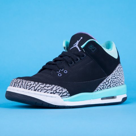 12fdd154cea50a Air Jordan 3 GS Bleached Turquoise   Black Mint Cement Grey - Depop