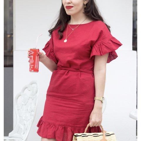caa012250c Mango red linen dress. Like Zara. Size s . Worn once. - Depop