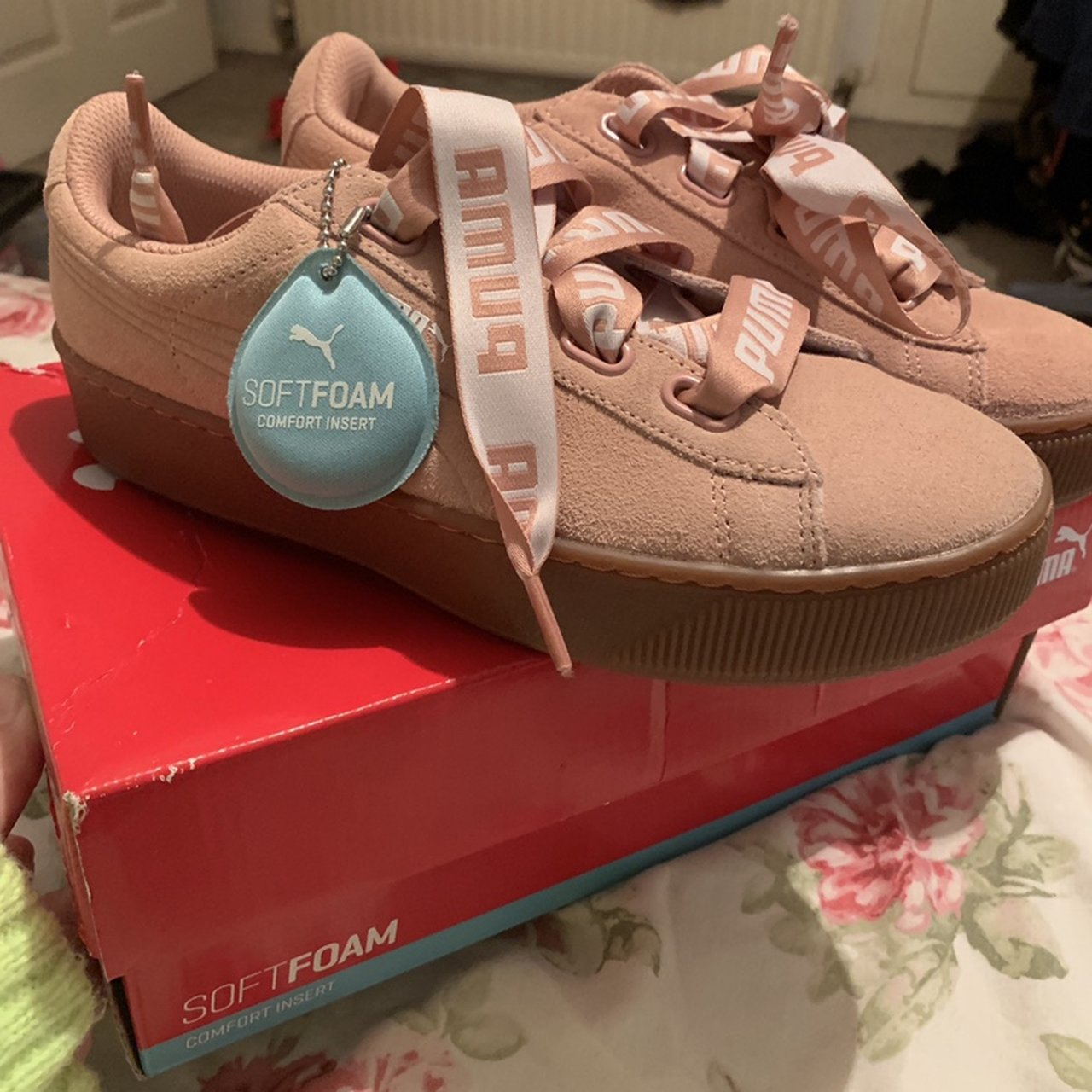 c896ce3aec50 Puma pink gum sole trainers with ribbon laces. Suede Never - Depop
