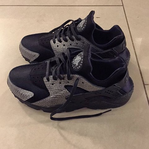 c00d72d6e747 Nike Woman s Air Huaraches Run PRM. Black  Metallic Silver. - Depop