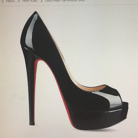 a90bd60800ee CHRISTIAN LOUBOUTIN LADY PEEP TOE BLACK PATENT - 100 % real - Depop
