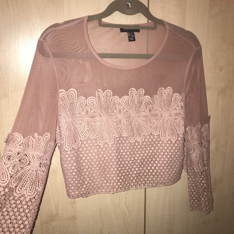 022a208e79f524 🌸 New Look Floral Mesh Long Sleeved Mauve  Pink Crop Top