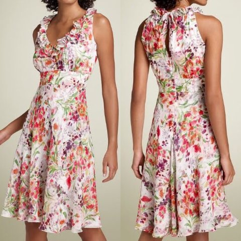 eacd348ce3a  158 Donna Ricco 4P PS Floral Silk Ruffle Neck Dress Pink up - Depop