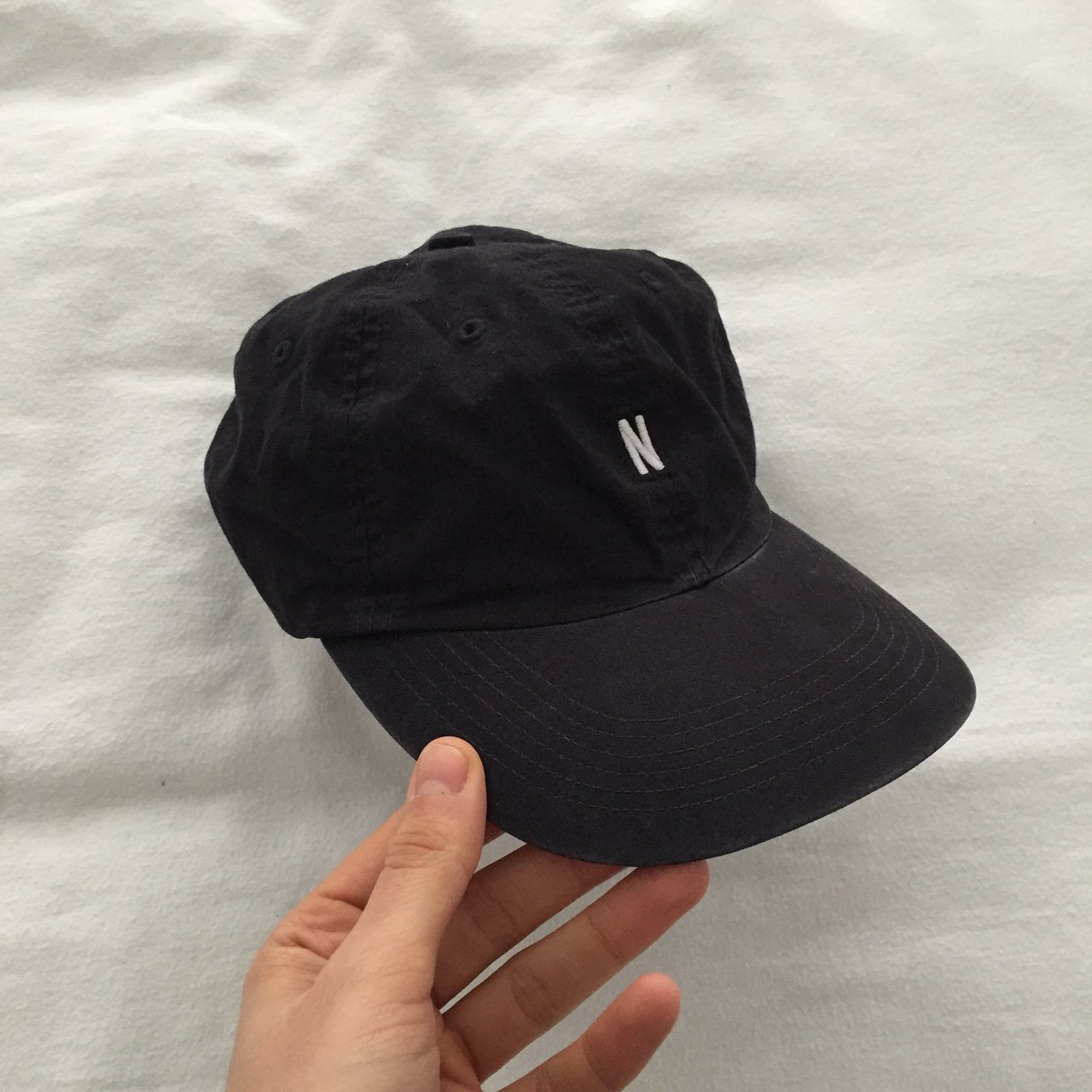 Norse Projects baseball cap in Washed Navy Blue. Worn maybe - Depop f2c553b8118