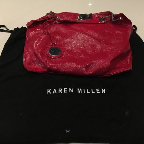 bae90239090 Red patent Karen Millen bag. Only been used a couple of good - Depop