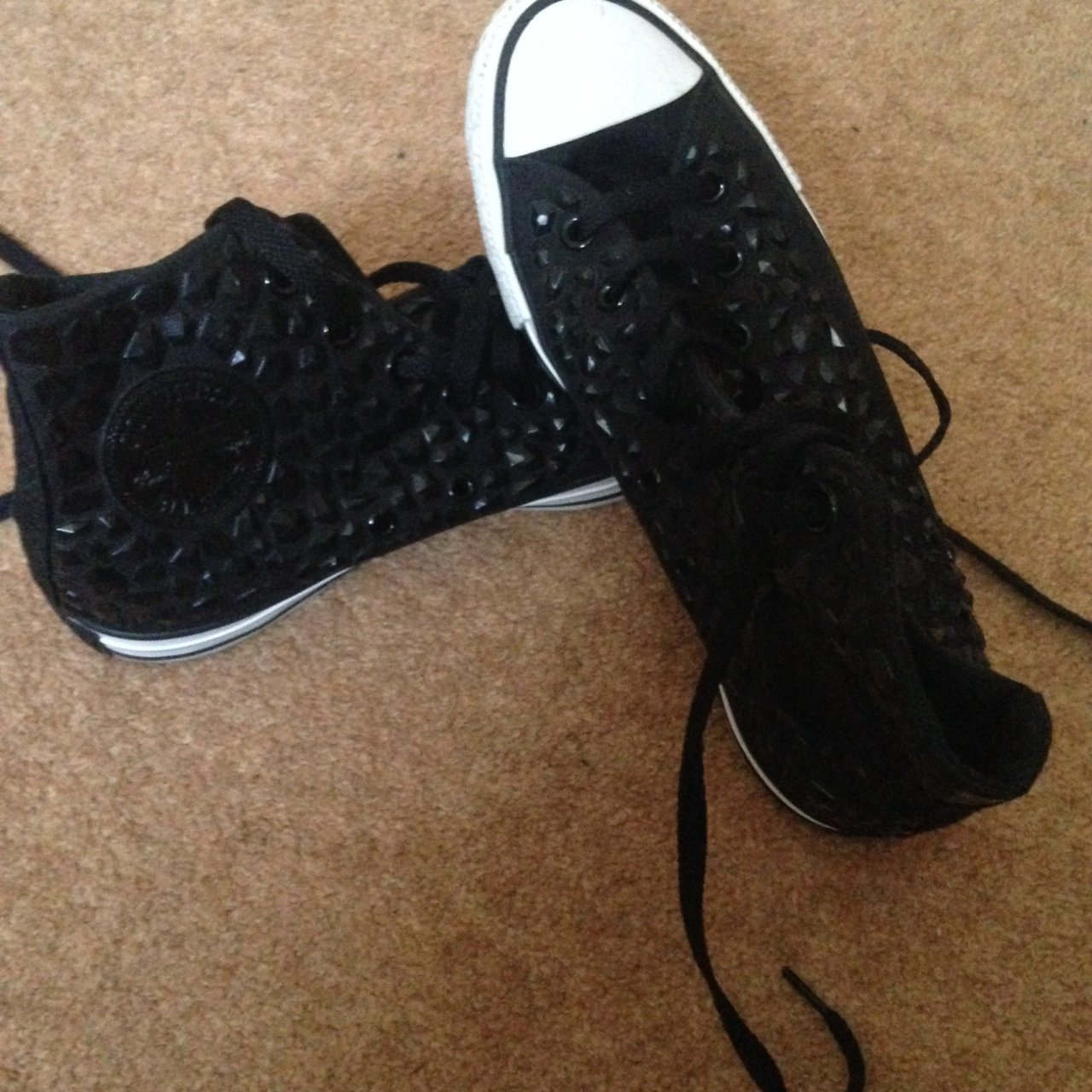 9dcaf069ae7 Size 6 black limited edition converse! Worn on a couple of - Depop