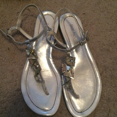 Enzo Angiolini silver sandals with silver stones down the of - Depop 4f7a31991fe5
