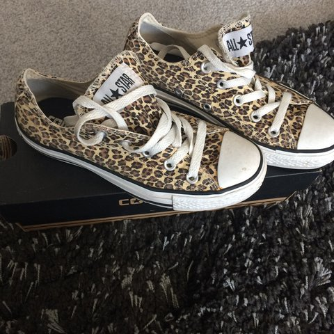 efa853e3f184 Ladies converse All Stars Leopard print brought from office - Depop