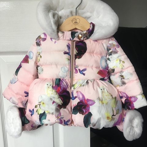 63e0b8d41 Baby Girls Ted baker coat stunning coat with floral and own - Depop