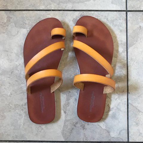 86bfb6debe2d American eagle sandals. Yellow. Used once. Size 6 but could - Depop