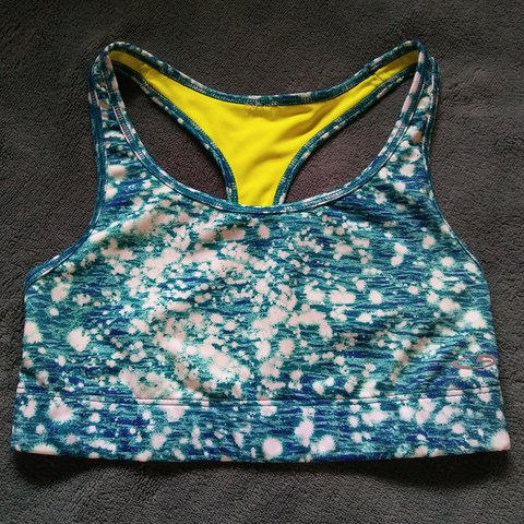 74a915b4f5 Champion blue and neon green reversible sports bra! This is - Depop