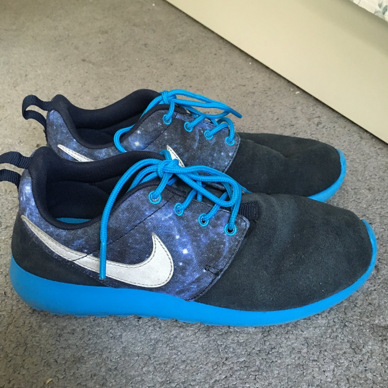 Selling NIKE SUADE GALAXY ROSHES. size 5Y. Condition 7 10. - Depop 7d38097d9f78