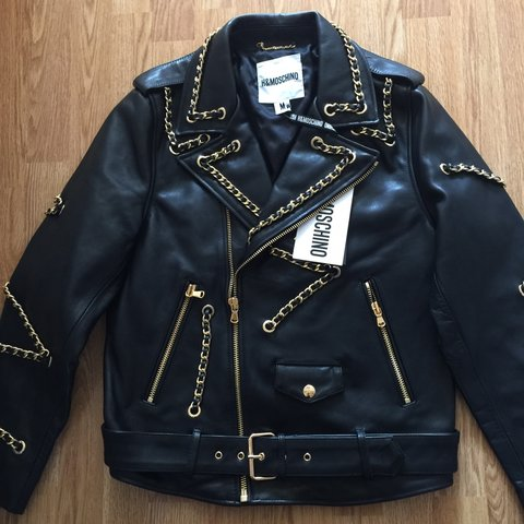 1b1ef9292 @daffodill. 8 months ago. Slough, United Kingdom. Mens H&M MOSCHINO Black  Leather Jeremy Scott biker jacket. Completely sold out ...