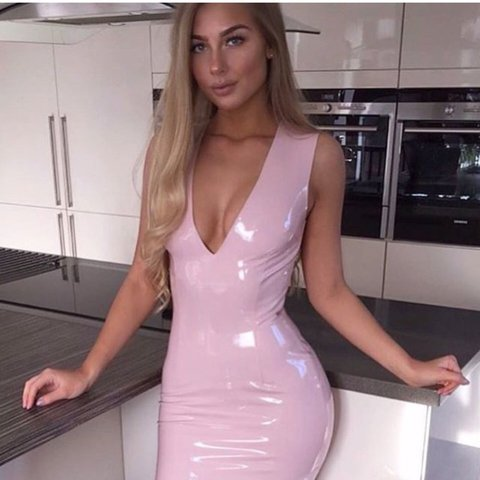 2a66e087ac Oh Polly trust in V vinyl PVC latex mini dress in blush / - - Depop