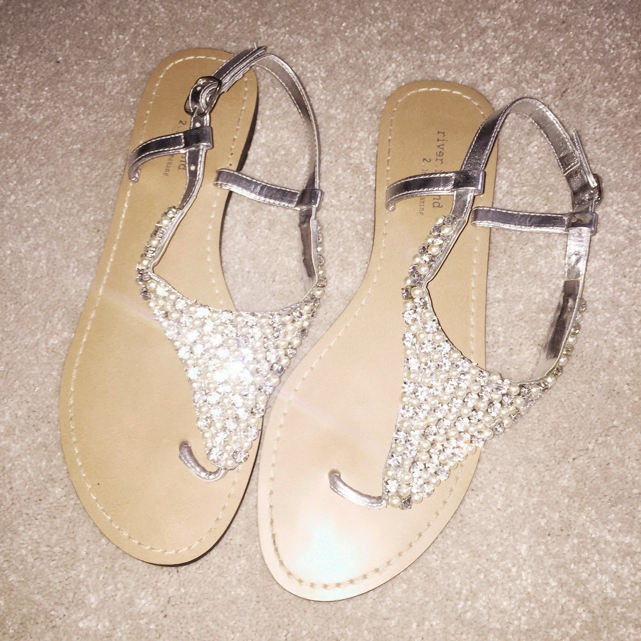 76ce700eacd6f Pearl   Diamond Sandals from River Island. Worn once great a - Depop