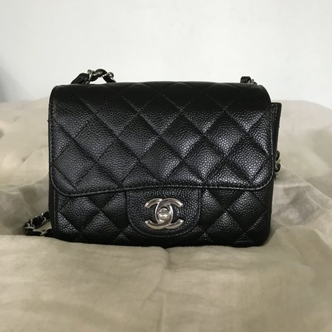 83d31564dc54 Chanel Square Mini Black Caviar Leather -in gentle -strap - Depop