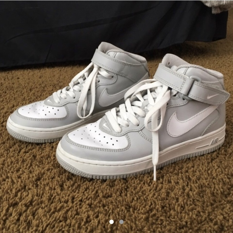 Rare grey & white high top Nike Air Force 1's, size    - Depop