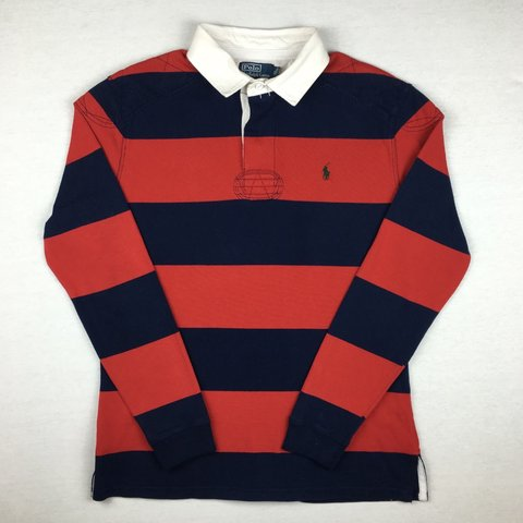 92319c3bf70 Men's Ralph Lauren Striped Rugby Polo Shirt | Navy / Red / | - Depop