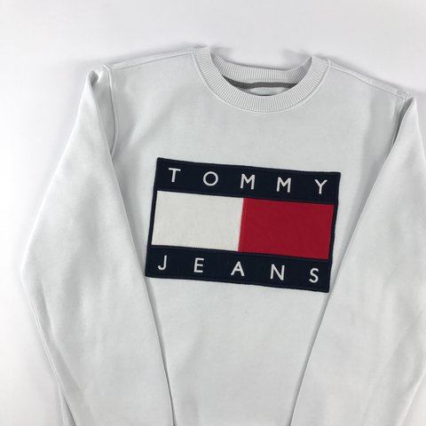 2946fa1f @openoutfit. 2 years ago. Newton Abbot, United Kingdom. Tommy Hilfiger® Jeans  Flag SweatShirt   White ...