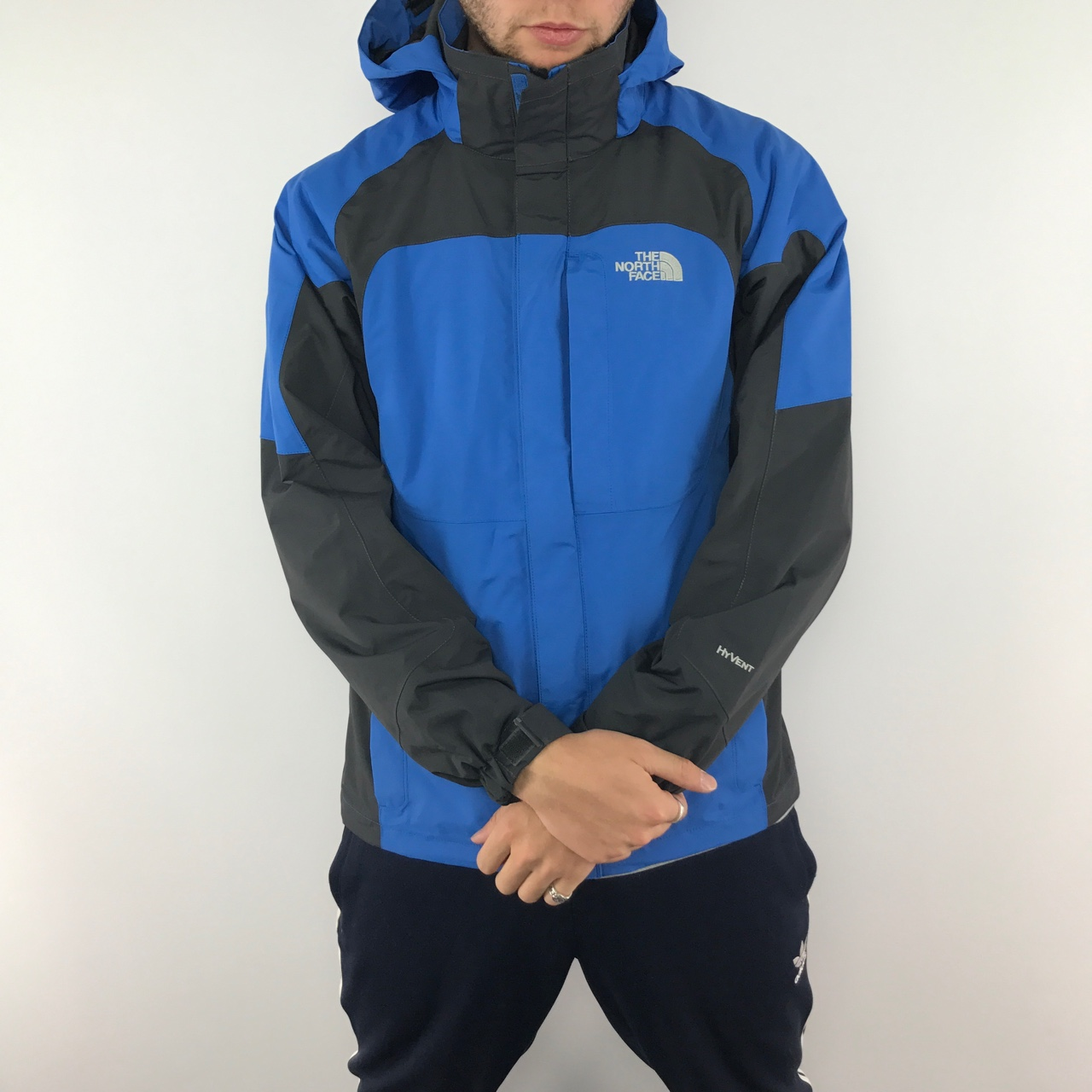 The North Face Hyvent Classic Rain Jacket Blue Depop