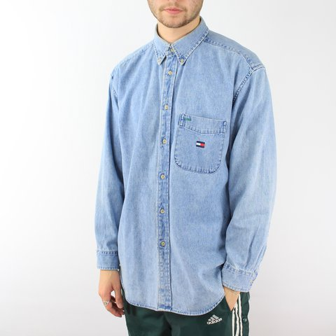 0411b8d5 @openoutfit. 2 years ago. Leeds, UK. Tommy Hilfiger Flag Denim Shirt | Light  Blue Wash | Men's ...