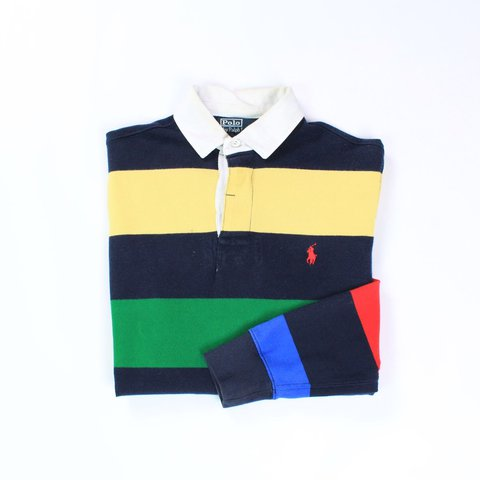 f032797f3bf @openoutfit. last year. Newton Abbot, United Kingdom. Item: 90s Striped  Rugby Polo Shirt Brand: Ralph Lauren Polo
