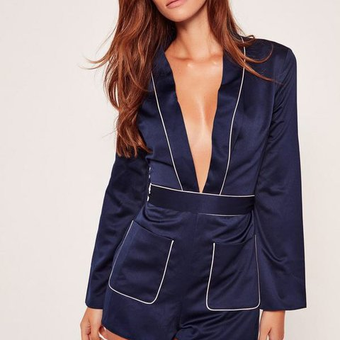 fe84d2aae7 Missguided satin pyjama style playsuit✨ navy pink.. comes is - Depop