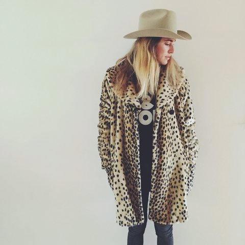 63b2b5338a10 Faux #fur leopard coat from Forever 21. Poly lining with M - Depop