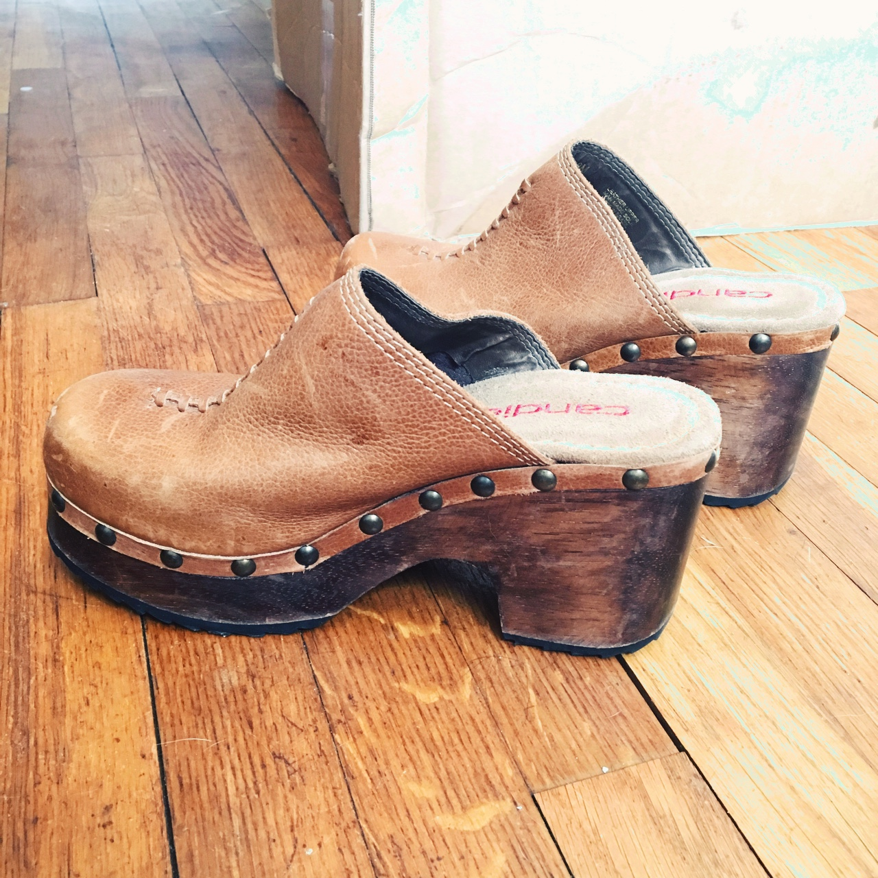 Vintage Candies Wooden And Leather Brown Clogs Size Depop