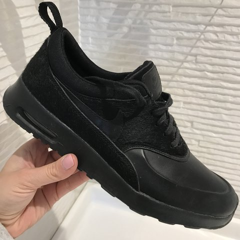 756e2b988d @jodieeeee. last year. Cambridge, United Kingdom. Nike Air Max Thea -  Limited Edition Premium Pony Hair Pack • All Black Leather Trainers ...