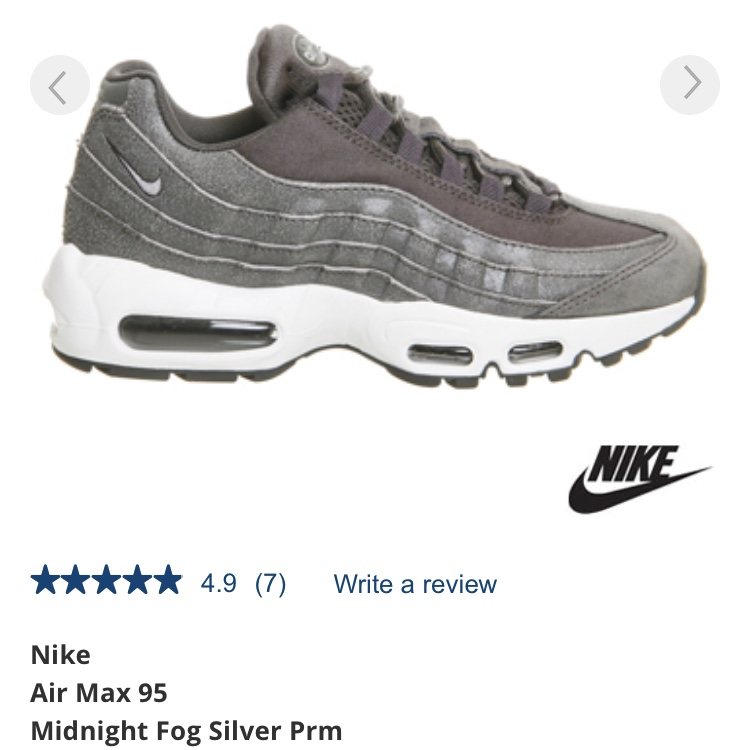 wholesale dealer 442f6 7d30b Nike air max 95 in midnight fog. Size 5.5 women's.... - Depop