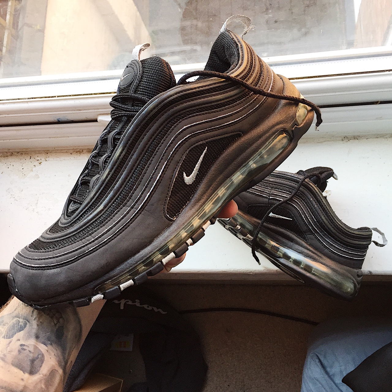 promo code 4c324 29215 Nike Air Max 97 Beaters • One of the bubbles had... - Depop