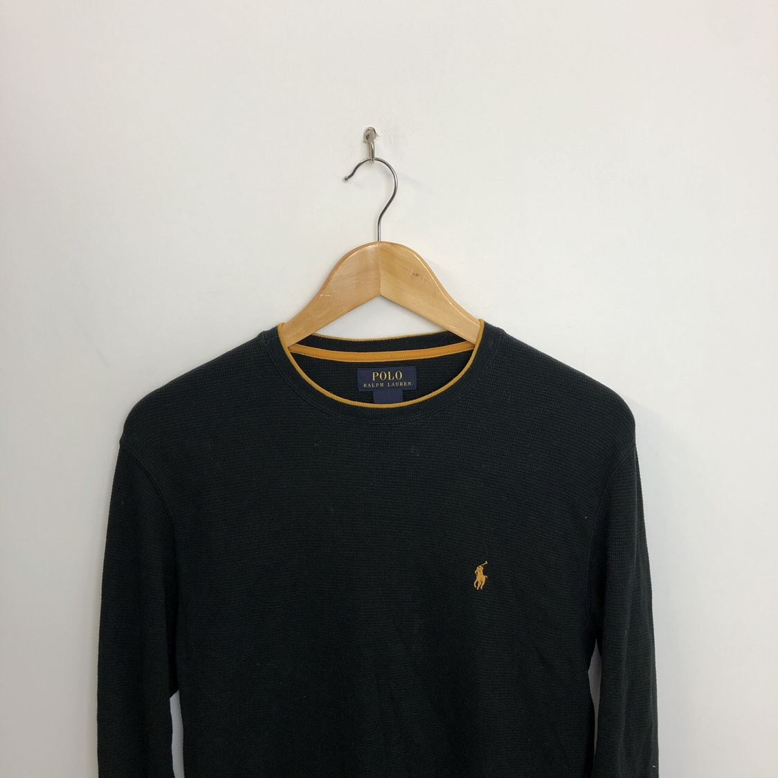 cheap for discount bae37 81b63 Ralph Lauren Black And Gold Slim Fit Pullover... - Depop